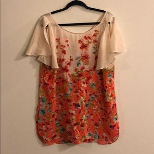 Anthropologie maeve flutter floral blouse tunic